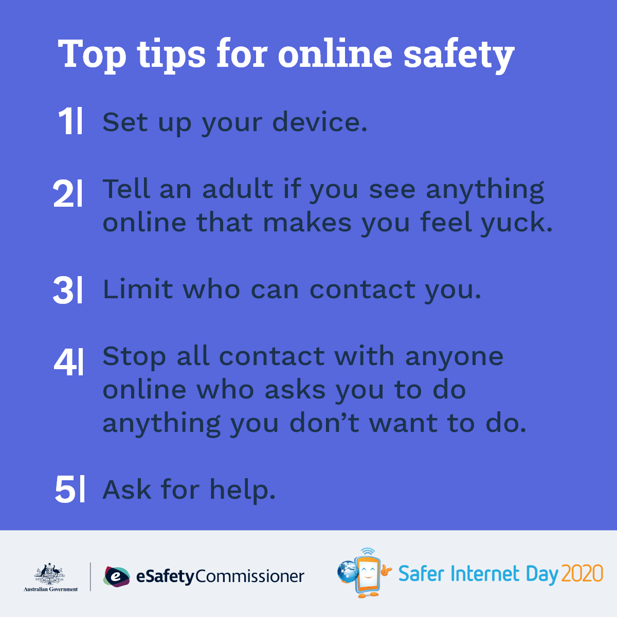 top tips for younger students on esafety