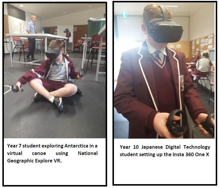 examples of students using CSER VR Oculus kit at Gleeson College