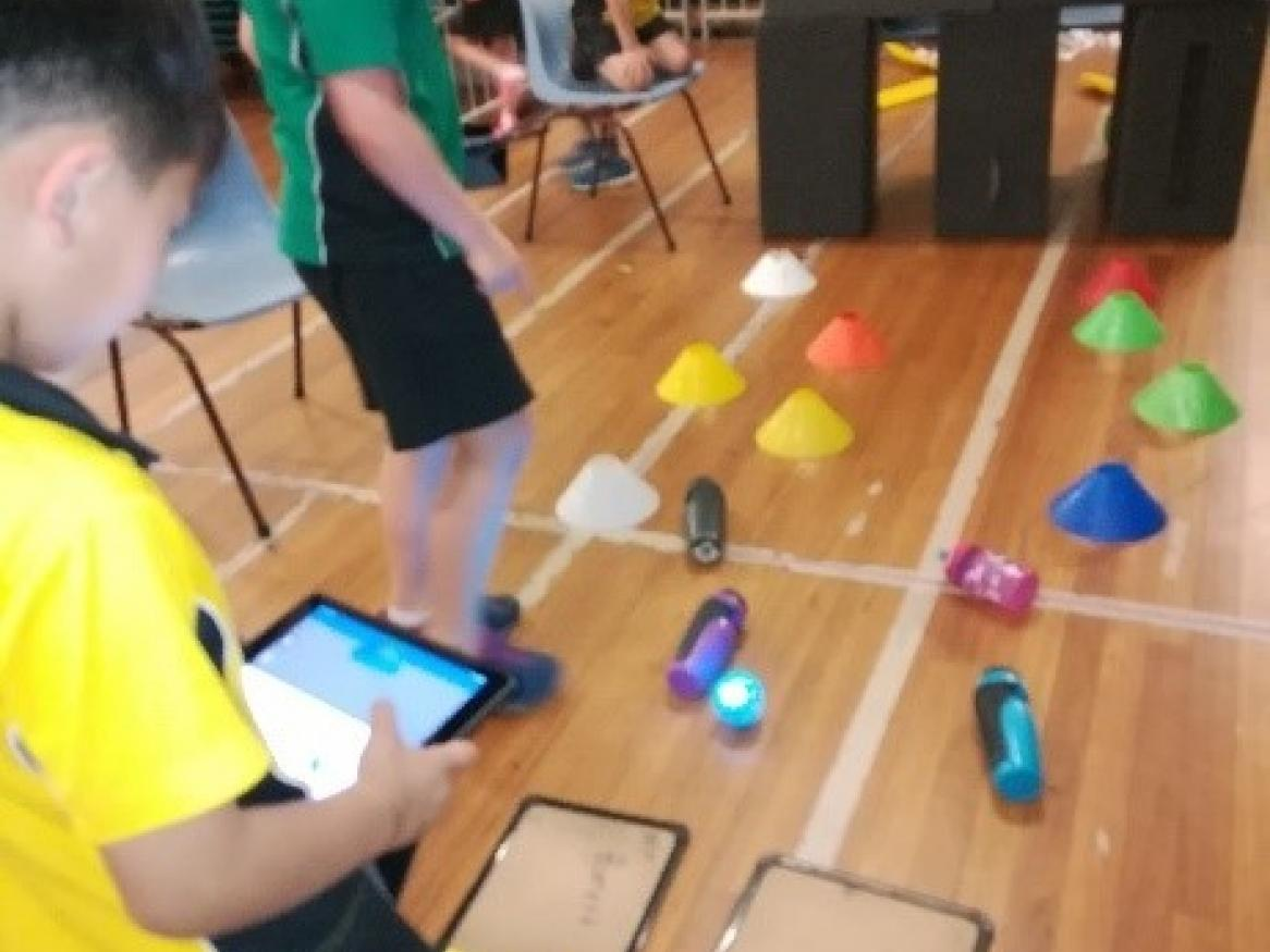 Students using spheros